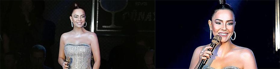 Ebru Gündeş Sahnede Altın Mikrofon Kullandı