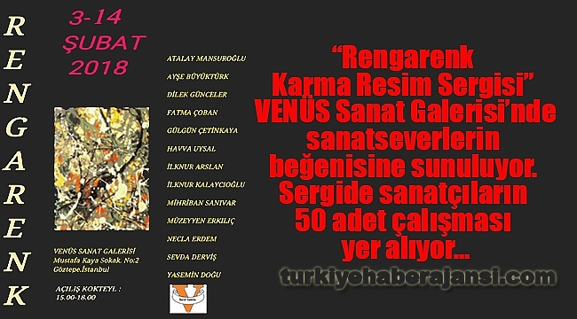 'Rengarenk Karma Resim Sergisi' Venüs Sanat'ta