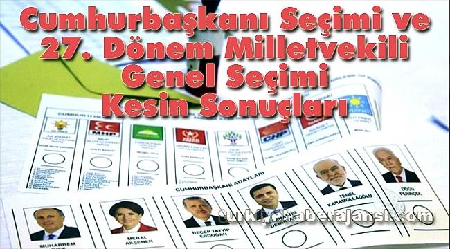 Cumhurbaşkanı Seçimi ve 27. Dönem Milletvekili Genel Seçimi Sonuçları