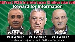 ABD'den 3 PKK'lı Teröristin Başına 12 Milyon Dolar Ödül