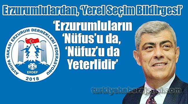 Erzurumlulardan, 'Yerel Seçim Bildirgesi'