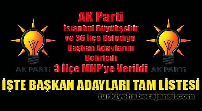AK Parti İstanbul Adaylarını Belirledi: 3 İlçe MHP'ye Verildi