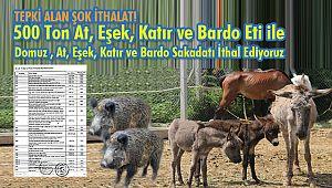 500 Ton At, Eşek, Katır ve Bardo Eti ile Domuz Sakadatı İthal Ediyoruz