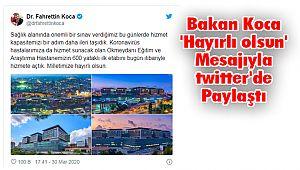 Bakan Koca 'Hayırlı olsun' Mesajıyla twitter'de Paylaştı