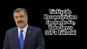 Türkiye'de Koronavirüs'ten Can kaybı 4'e, Vaka Sayısı 359'a Yükseldi