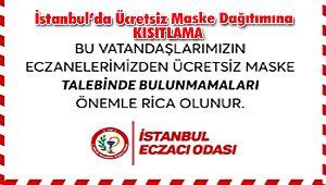 İstanbul'da Ücretsiz maske dağıtımına KISITLAMA