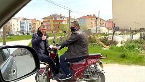 Sosyal mesafeyi ihlal eden motosiklet sürücüsüne CEZA