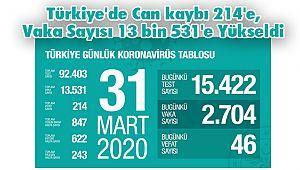 Türkiye'de Can kaybı 214'e, Vaka Sayısı 13 bin 531'e Yükseldi