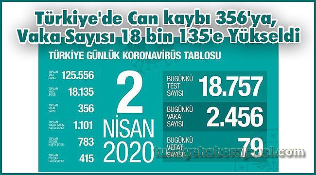 Türkiye'de Can kaybı 356'ya, Vaka Sayısı 18 bin 135'e Yükseldi