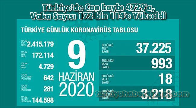 Türkiye'de Can kaybı 4729'a, Vaka Sayısı 172 bin 114'e Yükseldi