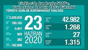 Türkiye'de Can kaybı 5001'e, Vaka Sayısı 190 bin 165'e Yükseldi