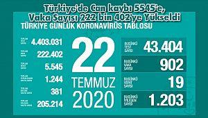 Türkiye'de Can kaybı 5545'e, Vaka Sayısı 222 bin 402'ye Yükseldi
