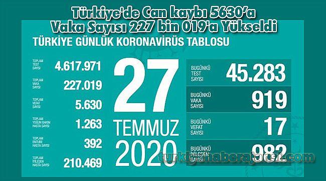 Türkiye'de Can kaybı 5630'a Vaka Sayısı 227 bin 019'a Yükseldi
