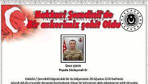 Hakkari Şemdinli'de Bir askerimiz şehit Oldu