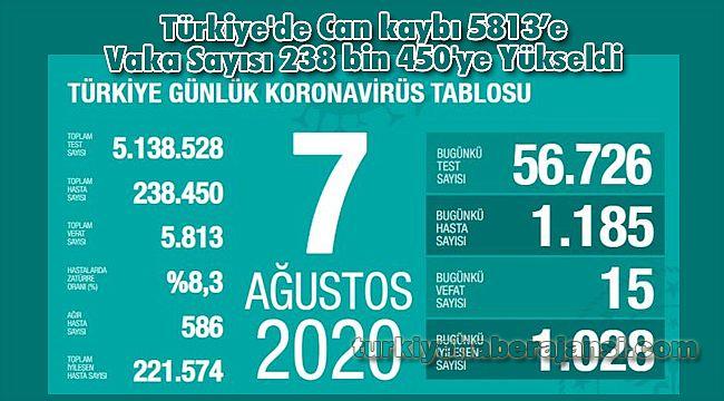 Türkiye'de Can kaybı 5813'e Vaka Sayısı 238 bin 450'ye Yükseldi