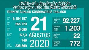 Türkiye'de Can kaybı 6080'e Vaka Sayısı 255 bin 723'e Yükseldi