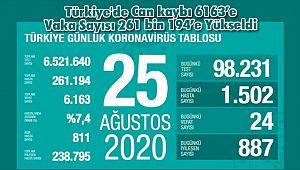 Türkiye'de Can kaybı 6163'e Vaka Sayısı 261 bin 194'e Yükseldi