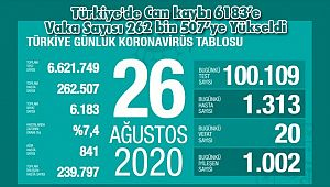 Türkiye'de Can kaybı 6183'e Vaka Sayısı 262 bin 507'ye Yükseldi