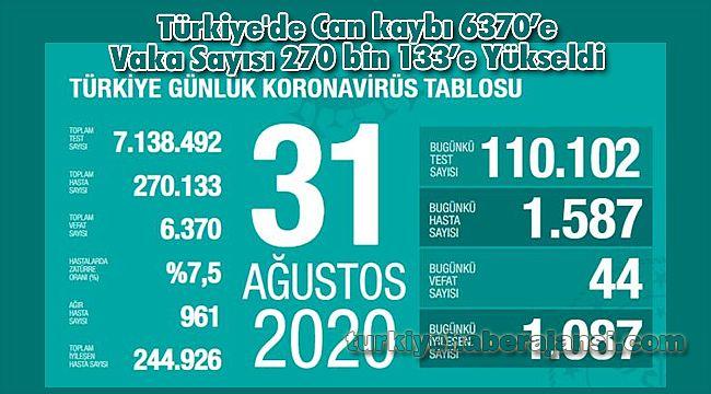 Türkiye'de Can kaybı 6370'e Vaka Sayısı 270 bin 133'e Yükseldi