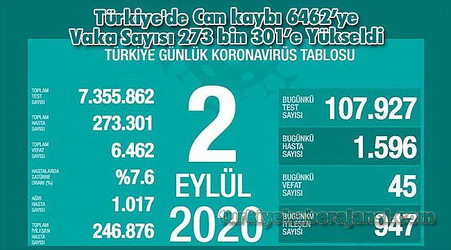 Türkiye'de Can kaybı 6462'ye Vaka Sayısı 273 bin 301'e Yükseldi