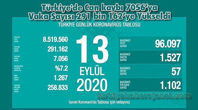 Türkiye'de Can kaybı 7056'ya Vaka Sayısı 291 bin 162'ye Yükseldi