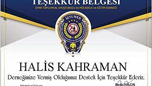 İzmir TUMED Gazeteci Kahraman'a TEŞEKKÜR belgesi verdi