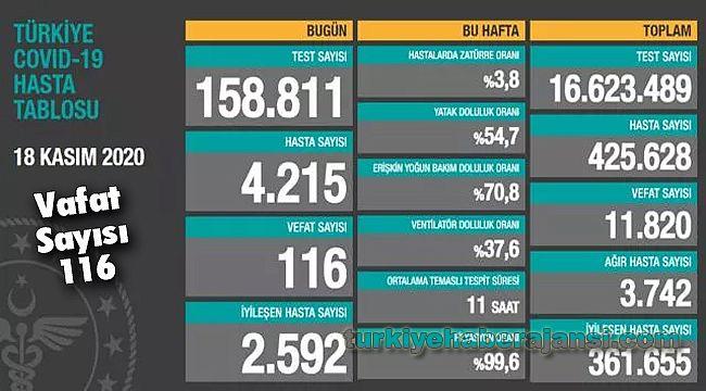 18 Kasım Türkiye Koronavirüs Tablosu