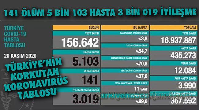 20 Kasım Türkiye'nin KORKUTAN Koronavirüs Tablosu