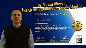Dr. Vedat Akman, İKSAD 'Bilim Ödülü'ne Layık Görüldü