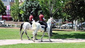 Uşak'ta denetimlere atlı polisler katıldı