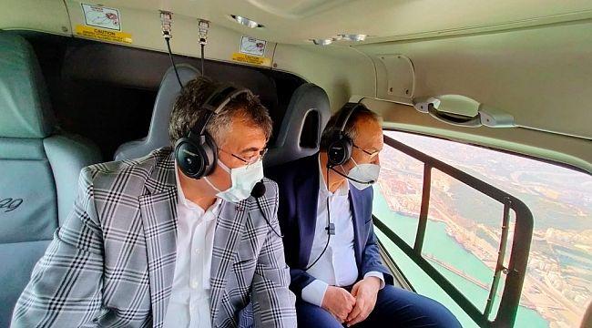 Vali ile Emniyet Müdürü trafiği helikopterle denetledi