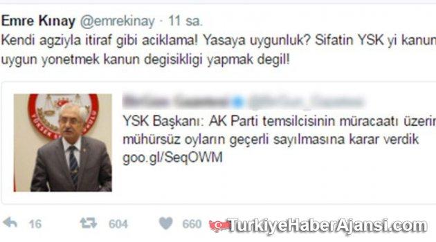 Emre Kınay'dan YSK Başkanı Sadi Güven'e Tepki