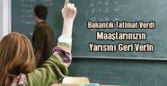 Atılan Öğretmenler Maaşı Geri Verecek