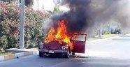Hareket Halindeki Otomobil Alev Alev Yandı