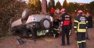Otobüsün Çarptığı Otomboil Tarlaya Uçtu